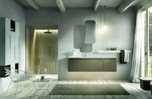 Ker 316, Badmöbel mit Waschbecken und unebene Spiegel