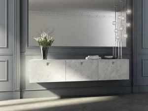 Kube 01, Badezimmer-Schrank mit Fronttüren aus Carrara-Marmor-Finish