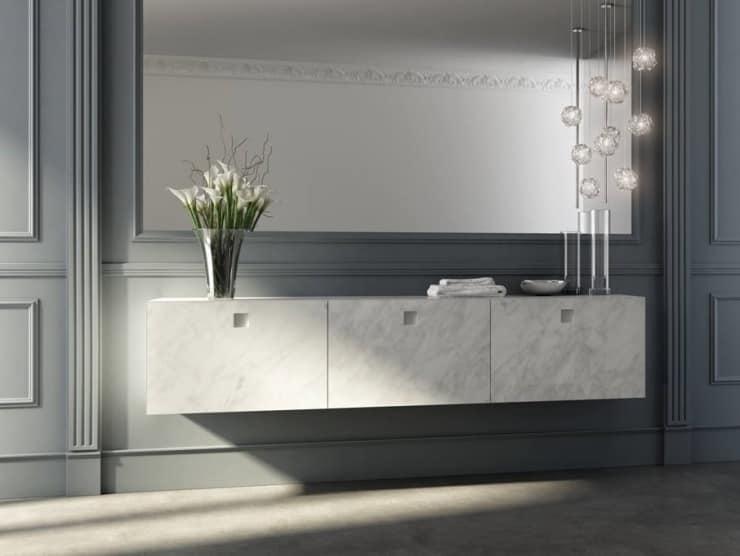Badezimmer-Schrank mit Fronttüren aus Carrara-Marmor-Finish | IDFdesign
