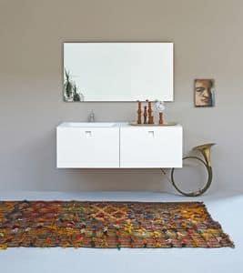 Kube 02, Unbedeutendes Badezimmer mit integrierter Spüle, weiße Farbe