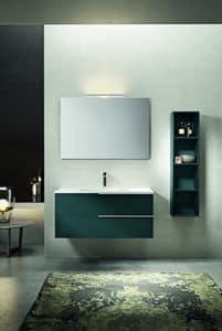 Kyros 107, Badezimmerschrank mit Wandschrank und Spiegel, Meer lackiert