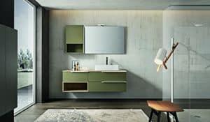 Kyros 110, Badezimmer-Schrank lackiert Cappuccino mit Wandmöbel