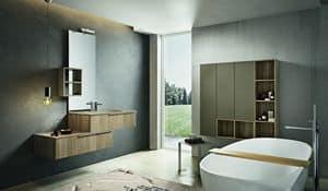Kyros 112, Zusammensetzung der Badezimmermöbel mit Holzwand Einheiten