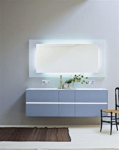 Badezimmer schrank mit zwei waschbecken mattblaue farbe idfdesign - Mobile bagno due lavabi ...