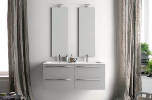 Lime Ø comp.26, Badschrank mit Doppelwaschbecken und senkrechten Spiegeln
