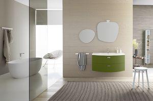 Lime Ø comp.32, Gekrümmter Badezimmerschrank, mit zwei großen Schubladen
