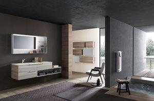 Lime Ø comp.45, Badezimmermöbel, mit Zement-Effekt-Spiegel