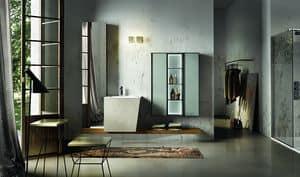 Maia 305, Badezimmerschrank mit hinterleuchtetem Glas-Panel