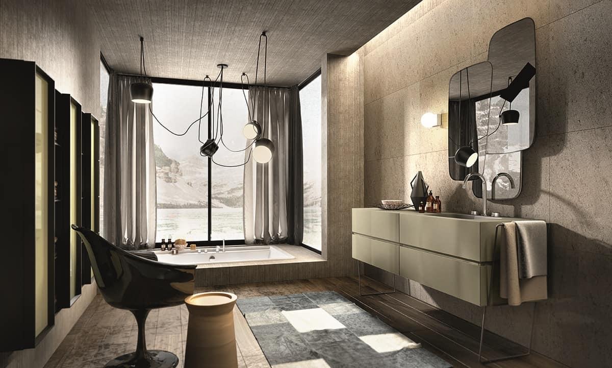 m bel zusammensetzung f r badezimmer cappuccino farbig idfdesign. Black Bedroom Furniture Sets. Home Design Ideas