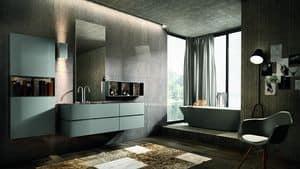 Nike 330, Möbel Zusammensetzung für Badezimmer mit Spiegel und Hängeschrank