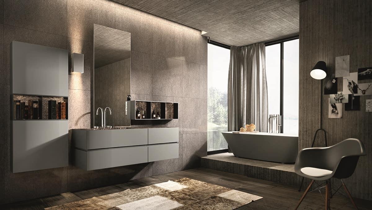 m bel zusammensetzung f r badezimmer mit spiegel und h ngeschrank idfdesign. Black Bedroom Furniture Sets. Home Design Ideas