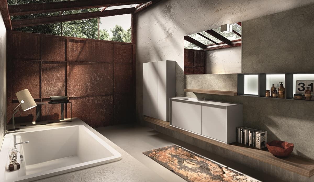 Badezimmer-Schrank, Waschbecken mit Klapphahn | IDFdesign
