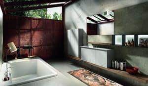 Regolo 321, Badezimmer-Schrank, Waschbecken mit Klapphahn