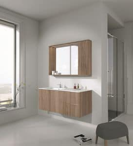 Singoli S 22, Badezimmer-Schrank fertig aus poliertem Ahorn