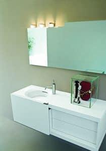 Slide 04, Kompakte Badmöbel, mit Schiebetür, weiße Farbe