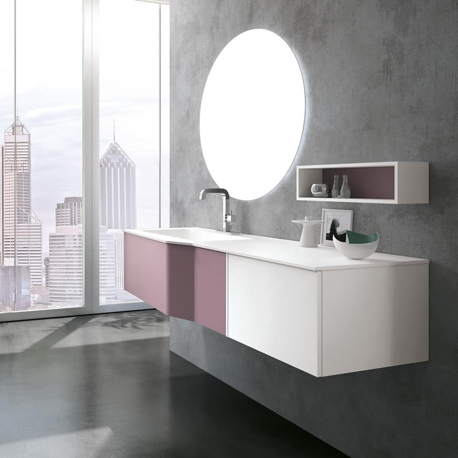 badezimmerschrank mit top in mineralmarmor mit spiegel idfdesign. Black Bedroom Furniture Sets. Home Design Ideas