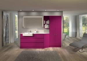 Torana TR 010, Badezimmermöbel mit Garderobe, Bücherregal und Spiegel