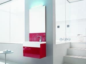 Trenta5 02, Glänzend rot Badezimmer Waschbeckenschrank, mit verziertem Spiegel