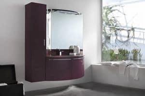 Up & Down 02, Badezimmer-Schrank mit hängenden Säule, abgerundeten Türen
