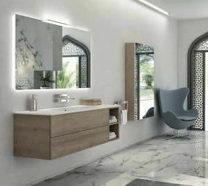 Yumi 02, Badezimmer-Schrank mit Pembroke grau, matt weiß top