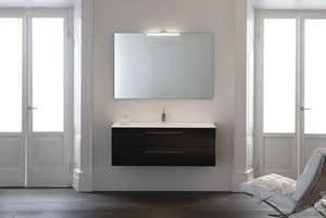Yumi 03, Badezimmer-Schrank mit zwei Schubladen, Wenge Eiche, Tecnoril Spüle