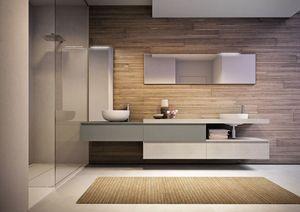 Cubik comp.15A, Geräumige Badezimmermöbel, mit zwei Waschbecken und Spiegel