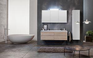 Kami comp.01, Modulares Badezimmerschrank mit Doppelwaschbecken