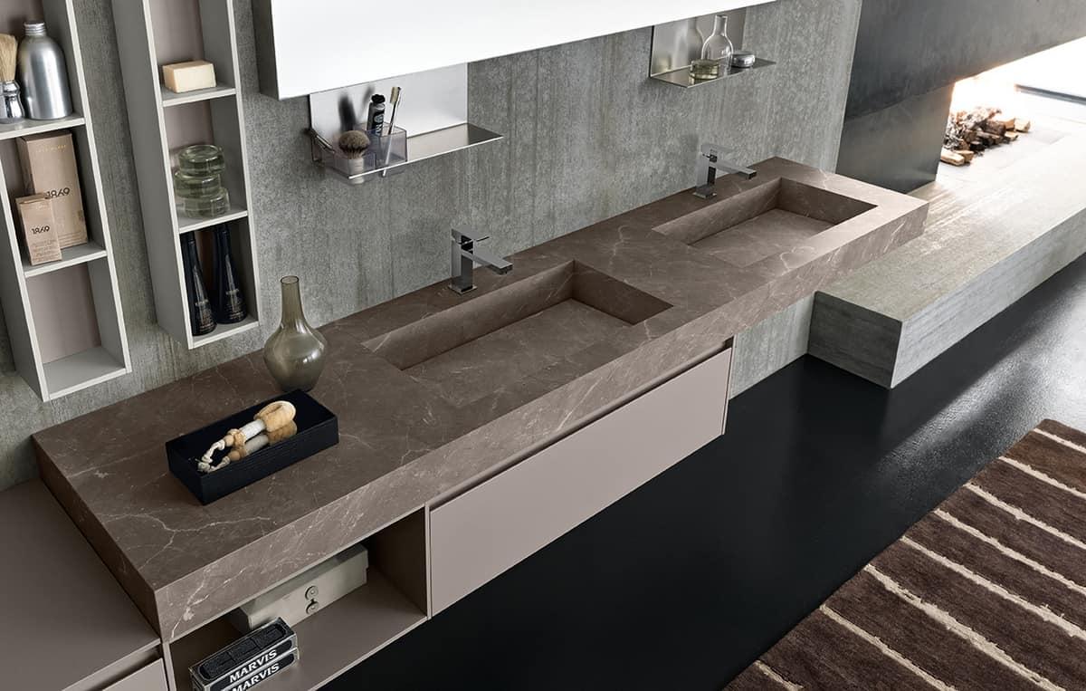 Gro er badezimmerschrank mit doppelwaschbecken in hpl for Arredo shop online