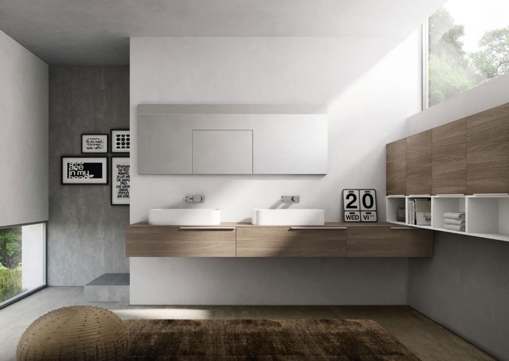 My time comp.07, Badmöbel mit zwei keramischen Waschbecken