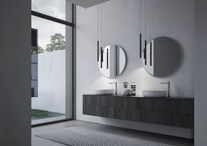 Sense comp.04, Badezimmermöbel mit zwei runden Keramikwaschbecken