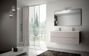 Smyle comp.05, Badezimmermöbel mit zwei großen Waschbecken