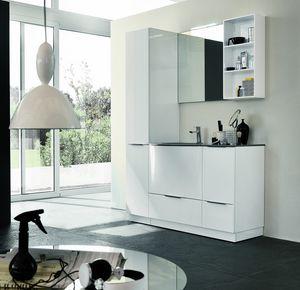 BLUES BL-18, Komplette glänzend weiße Badezimmermöbel
