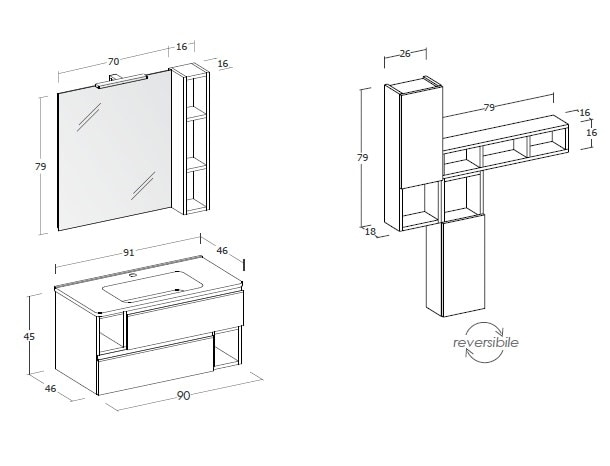 CITY 03, Wand-Waschtischunterschrank mit Schubladen