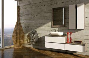 COMPONIBILE 07, Wandmontierter modularer Waschtischunterschrank mit Kleiderschrank