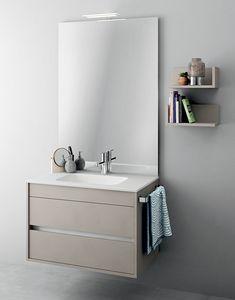 Duetto comp.08, Monobloc Möbel mit Spiegel für kleine Badezimmer