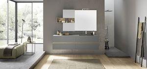 Lime 2.0 comp.208, Badezimmerschrank mit integrierter Spüle, Schrankwand mit offenen Fächern