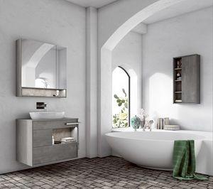 Lume comp.02, Badezimmerschrank mit ovalem Waschbecken