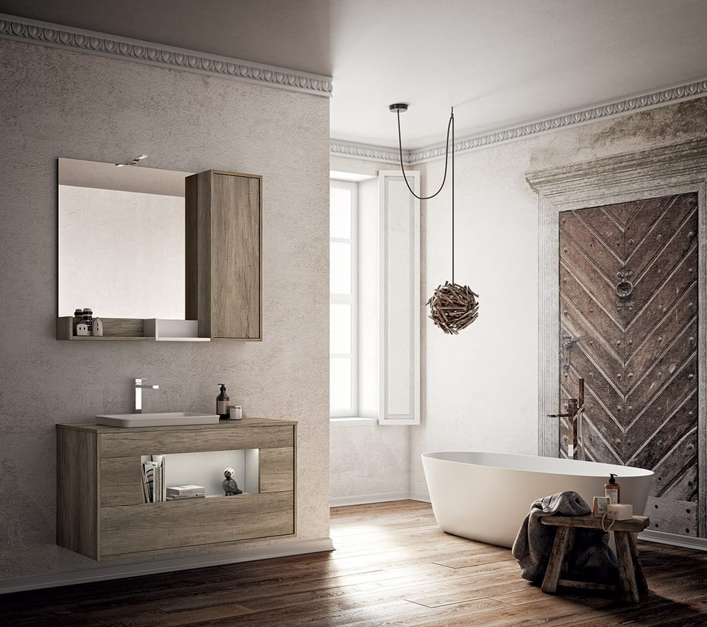 Badezimmerschrank mit Waschbecken und Spiegel | IDFdesign