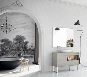 Lume comp.06, Zusammensetzung für Badezimmer mit Möbeln ohne Griff