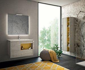Lume comp.07, Badezimmerschrank mit hintergrundbeleuchtetem Spiegel
