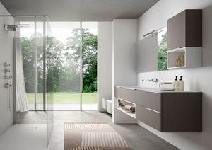 My time comp.01, Moderner Badezimmerschrank mit extra-Kristall-Waschbecken