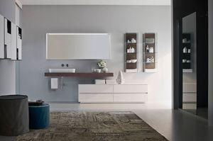 Nyù comp.08, Badezimmermöbel, modular, mit ovalen keramischen Waschbecken