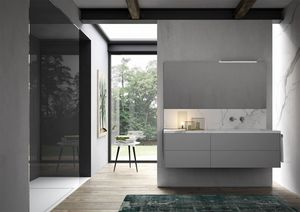 Sense comp.02, Badezimmer-Schrank mit Waschbecken aus Marmor-Effekt-Steinzeug