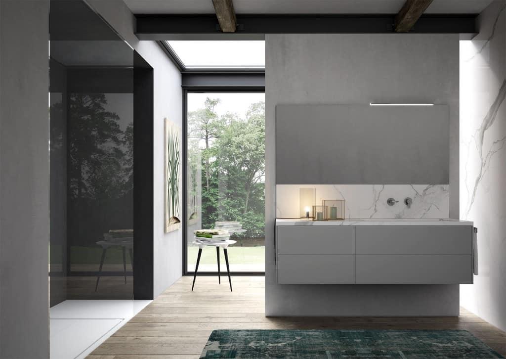 Badezimmer-Schrank mit Waschbecken aus Marmor-Effekt-Steinzeug ...