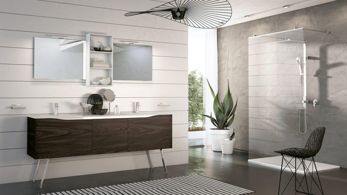 Komplette Möbel für modernes Badezimmer in dunklem Nussbaum   IDFdesign