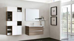 SWING SW-14, Badezimmerschrank in der dunklen Ulme mit quadratischem Spiegel