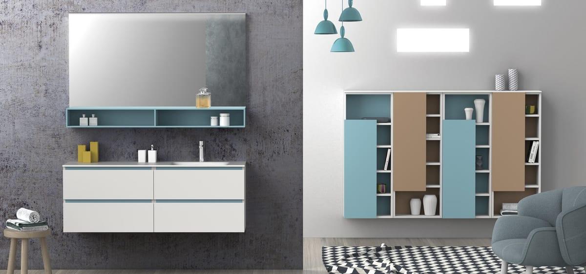Weisser Badezimmerschrank Mit Blauen Details Integrierte Spule In