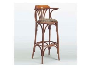 120, Klassische Holzstuhl, gepolsterter Sitz, für Bistro