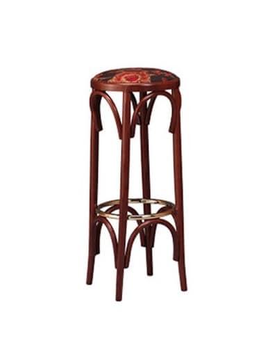 Holzstuhl in bistro stil runde sitz idfdesign for Barhocker kneipe