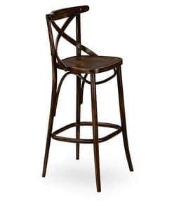 Croce SG, Barhocker aus Massivholz, für Restaurants und Bars